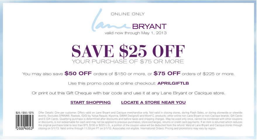 Купон от Lane Bryant для солидных дам до 1 мая 2013