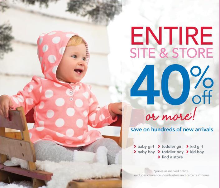 Распродажа детской одежды в Carter's: 40% OFF + купоны