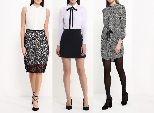 Черно-белые повседневные платья от Ламода / LAMODA